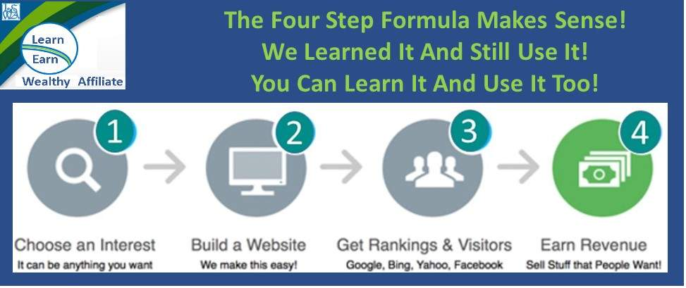 Learn Earn Wealthy Affiliate The Four Step Formula Makes Sense We still Use It. You Can Learn And Use It Too.