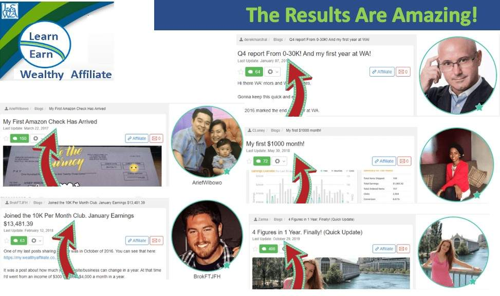 Learn Earn Wealthy Affiliate Following and Implementing the Training brings Results Group Three Achievers