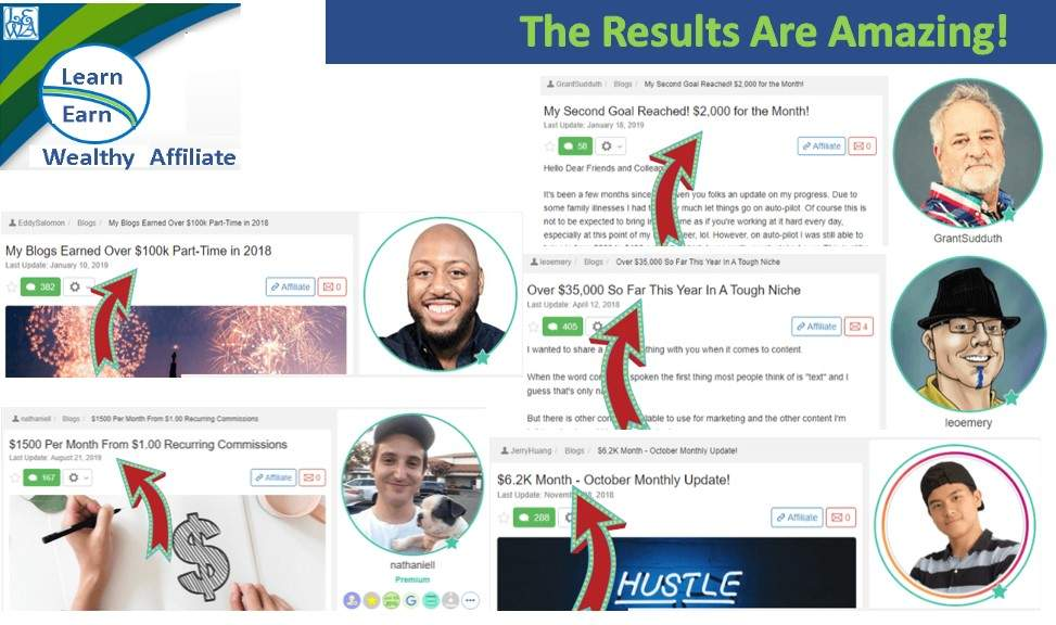 Learn Earn Wealthy Affiliate Following and Implementing the Training brings Results Group One Achievers