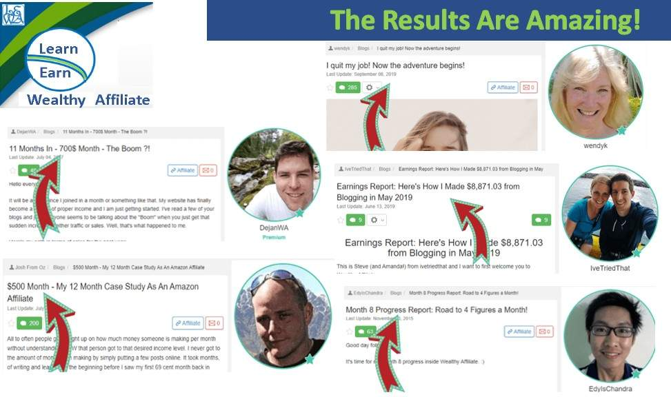 Learn Earn Wealthy Affiliate Following and Implementing the Training brings Results Group Two Achievers